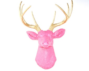 Faux Taxidermy - Hot pink Deer Head With Gold Antlers Decor - Deer Head Antlers Faux Taxidermy Wall Mount D1608