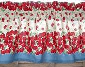 RETRO CHERRIES Valance Vintage look New  Cotton 52 x 13  Retro Kitchen CHERRIES 1940s Tablecloth Look Print