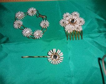 Authentic Vintage Bracelet, Hair Comb, Bobby Pin Rhinestone, Gold Set, BRIDE, WEDDING