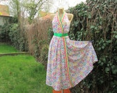 Pretty Summer Dress Vintage / Long / Maxi / Open Back / SizeEUR44 / UK16 / Silky Poly