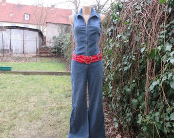 Denim Jumpsuit  Vintage / Pantsuit / Overalls / One Piece / Wide Legs / Size EUR 36 X UK 8 / For Tall Girls