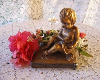 SALE-Vintage Antique French Bronze Metal Cherub Figurine Statue