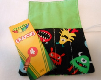 Little Monsters, Mini Crayon Roll Up Holder With 4 Pockets With Crayon