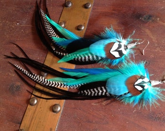 Blue Turquoise Feather Earrings Long Feather Jewelry With Black And Grizzly, Handmade Winter Fashion Accessory Earrings