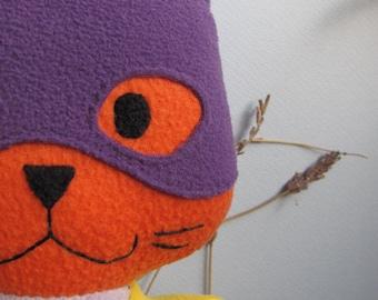 Purple Batkitty, Batgirl cat, the Comic Cat Superhero, stuffed animal plush toy, handsewn, ecofriendly