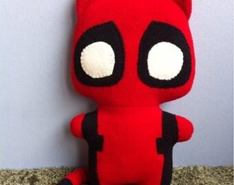 Catpool, the Comic Cat Superhero, stuffed animal plush toy, handsewn, ecofriendly