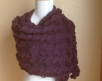 Purple Heather ZigZag Shawl With Unique Drop Stitch Pattern
