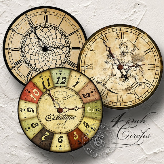 Vintage Clocks 2 Digital Collage Sheets CG-727 by ...