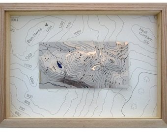 Ben Nevis contoured stainless steel map : framed in a natural ash frame