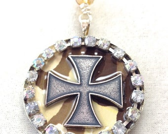 Camouflage Iron Cross Glamo Camo Necklace in 5 colors, 18""