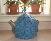 Cabled Teapot Cozy in Cornflower Blue