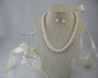 Strand necklace with ribbon closure- wedding jewelry, bridesmaids jewelry