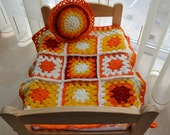 Hand crochet dolls Afghan blanket and pillow for Waldorf Dolls