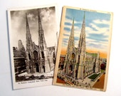 Vintage Saint Patricks Cathedral Postcards Then and Now Excellent ++
