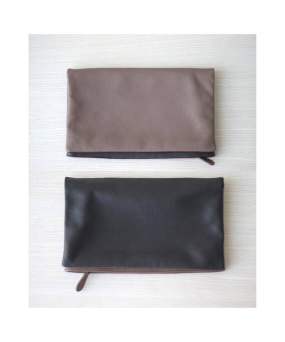 SALE Foldover Leather Clutch in Reversible Black and Taupe