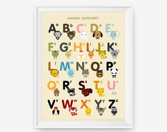 Alphabet A-Z uppercase and lowercase Animal Alphabet Poster, Kid wall art, Nursery Decor, Classroom Decor