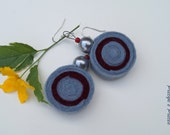 Grey and Maroon Felt Dangle Earrings With plastic Silver Colored beads OOAK Eco-Friendly