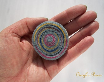 Lollipop - Swirly Grey Yellow Pink Blue Felt Stripes Felt Circle Brooch ooak