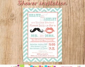 HIS and HERS Shabby Chic- mustache and lips invitation - bridal shower - YOU Print