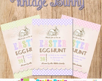 VINTAGE BUNNY invitation - You Print