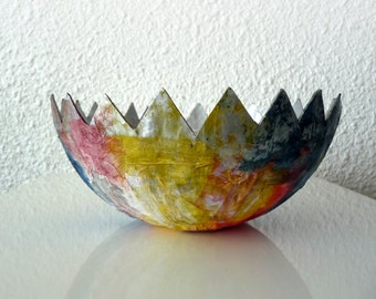 """Hand Painted Paper Mache Bowl """"Easter Egg"""""""