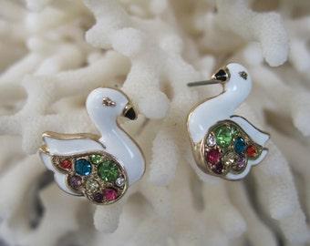 Swimming, Petite, Gentle and Colorful Enameled White Swan Stud Earrings