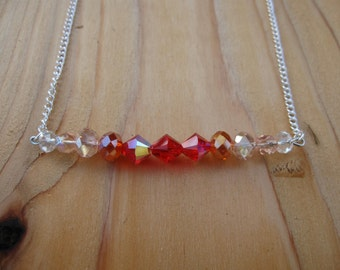Swarovski Bar Necklace: Ombre Bar Necklace / Red to Pink Ombre