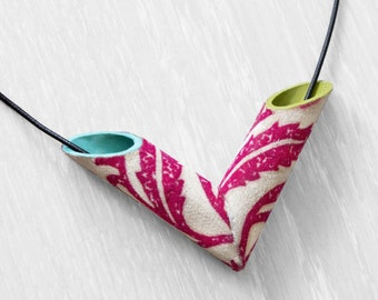 Colorful tubular arrow necklace/ fabric and paint necklace