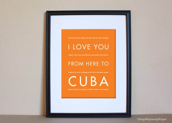 Cuba travel art i love you from here to cuba by for Art sites like etsy