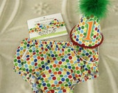 Baby Boy First Birthday Outfit Necktie Party Hat & Diaper Cover First Birthday Photo Cake Smash Outfit in Very Hungry Caterpillar
