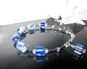 Cane Glass Bracelet in Cobalt and Aqua with Swarovski Crystals and Sterling Silver