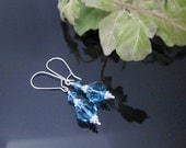Aquamarine Swarovski Crystal Earrings with Sterling Silver Accents