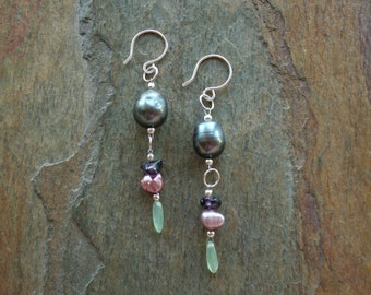 Pearl Earrings -  Deep Gray