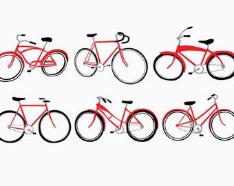 Vintage Bicycle Art Print Red- Retro Pop Art - Hand Printed 12x18
