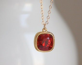 Red Pendant Necklace with Red Swarovski Crystal - Red & Gold Necklace