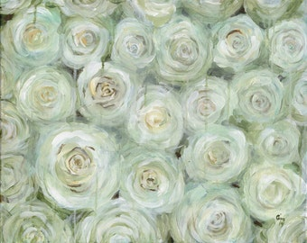 Original Abstracted White Rose Painting - Whitewalls