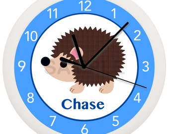 Personalized HEDGEHOG Nursery WALL CLOCK