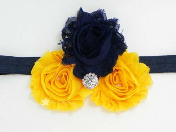 WVU baby elastic headband, navy, yellow gold, shabby flower, baby headband, infant headband, newborn headband, girl, child, hair clip