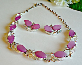 Vintage Lavender Lucite & Aurora Borealis Rhinestone Necklace and Earring Set 1960's Clip On