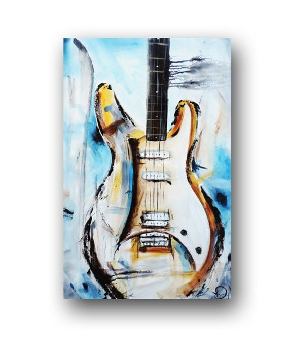 guitar painting blue abstract painting large original painting. Black Bedroom Furniture Sets. Home Design Ideas