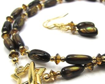 Chocolate Brown Mother of Pearl Necklace Earring Set With Topaz Satin Swarovski Crystals