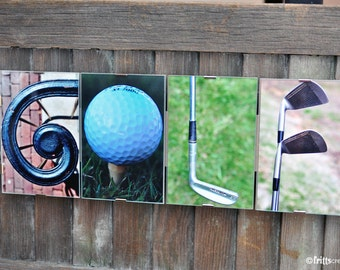 GOLF Alphabet Photography Framed photo letter wall sign, Gift for Dad , Sports Fan, golf fan