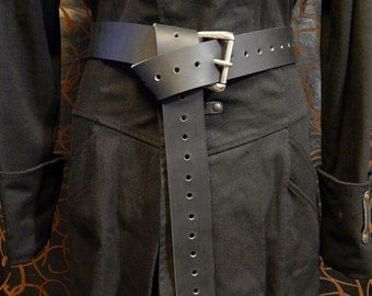 2'' wide heavy leather long belt with massive engrave buckle, medieval, viking, renaissance