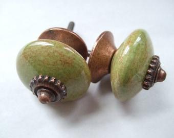 Pair of Retro Green Ceramic Cabinet Knobs