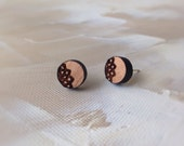 Doilies - jewelry - 'Nan Betty' doily stud earrings - laser cut and etched Tasmanian Blackwood