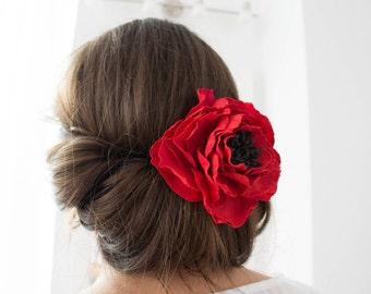 Red Poppy Brooch Hairclip Flower Floral Hairpiece Women Handmade Hair Decor Decoration Accessory Wedding Bridal Birthday Christmas Xmas Gift