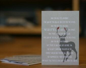 Wedding Card - Anniversary Card - Apache Wedding Blessing Love Husband Wife Deer Bird Rustic Woodland