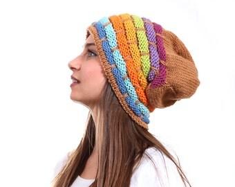 Slouchy Beanie Hat, Rainbow Slouch Hat Tribal rasta by Solandia, Oversized Knitted Wool Winter Hat, blue, orange purple, winter fashion