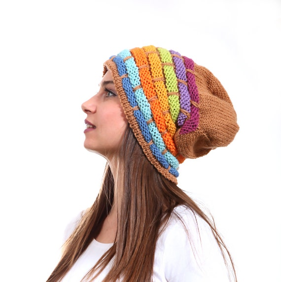 Knitting Pattern Rastafarian Beanie : Slouchy Beanie Hat Rainbow Slouch Hat Tribal rasta by