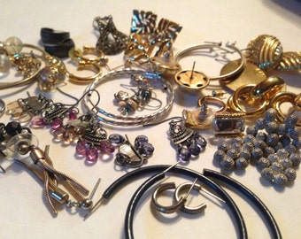 27 Pair Earrings Clip & Pierced Vintage Rhinestone De-stash lot 126